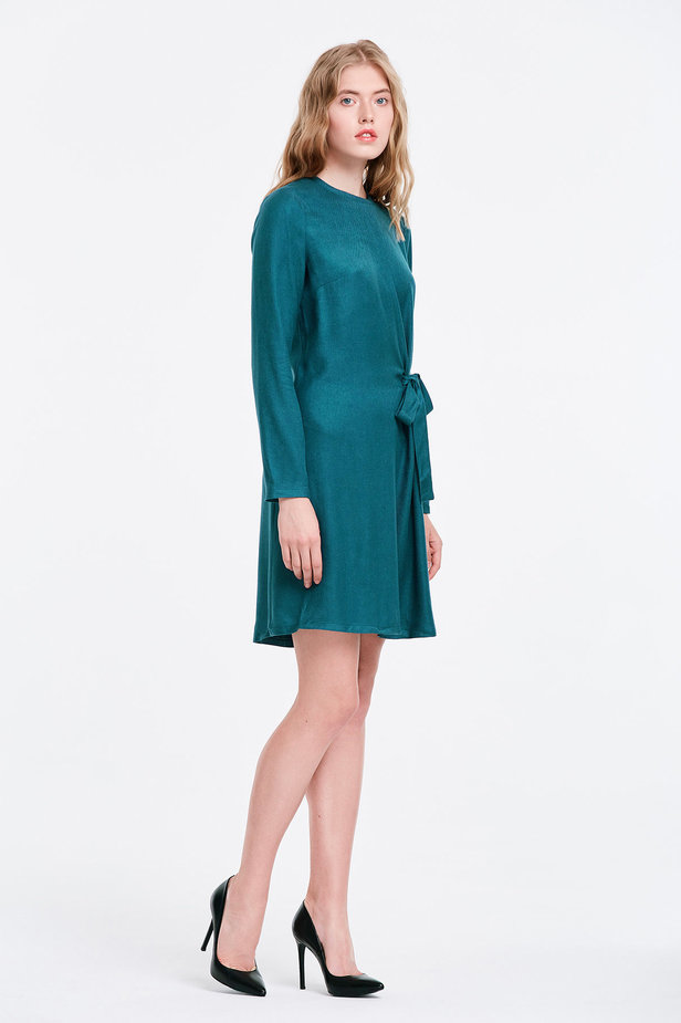 Marine green dress with ties photo 5 - MustHave online store