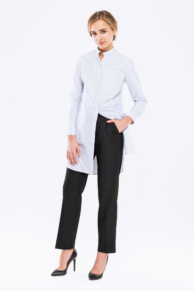 Long white shirt with blue stripes photo 2 - MustHave online store