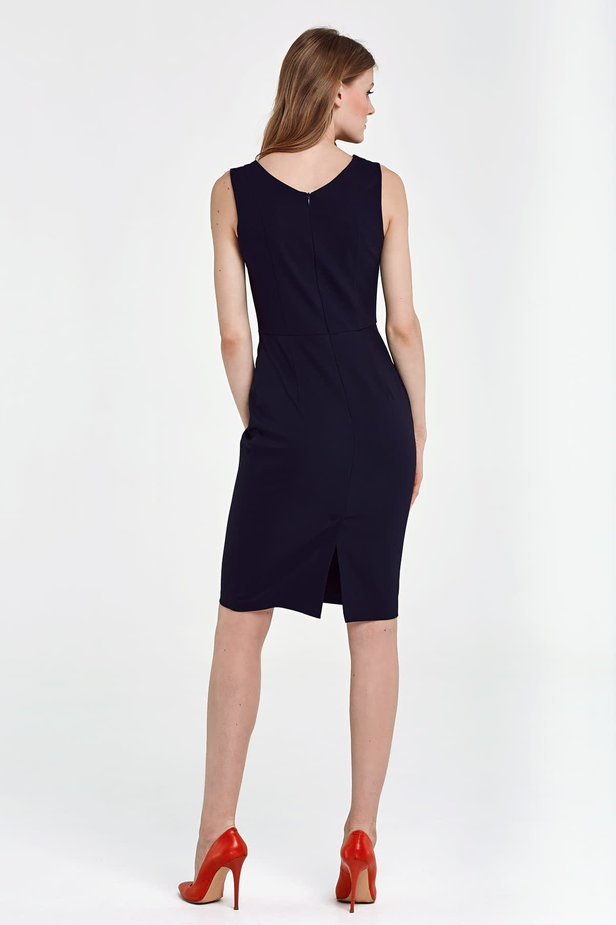 Below the knee column dark blue dress photo 3 - MustHave online store