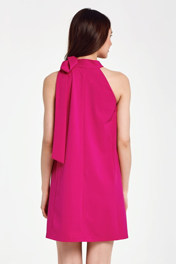 Fuschia swing dress with a bow photo 4 - MustHave online store