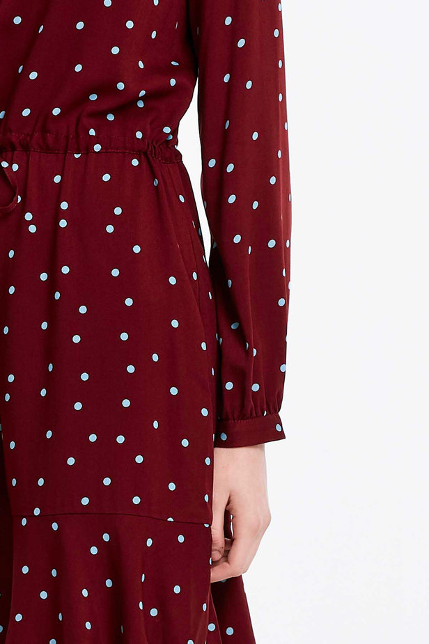 Wine dress with a blue polka dot print and a keyhole photo 3 - MustHave online store