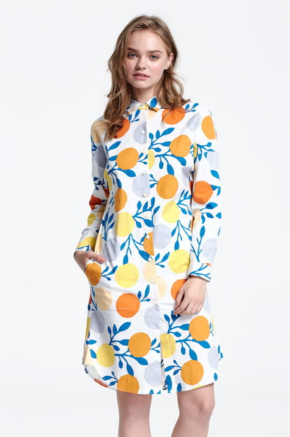 White shirt dress, oranges print