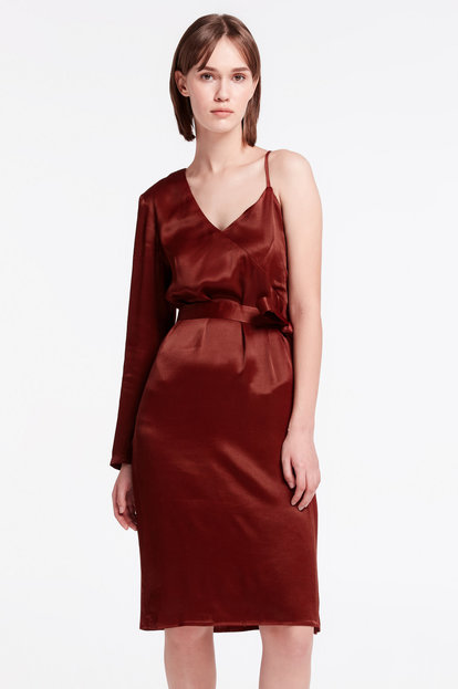 One shoulder brown dress