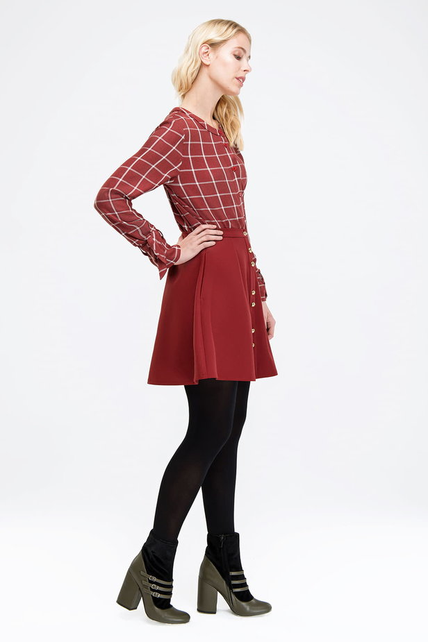 Checked burgundy shirt with bows on the sleeves photo 3 - MustHave online store