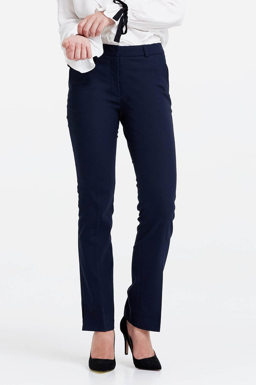 Dark blue trousers with slits