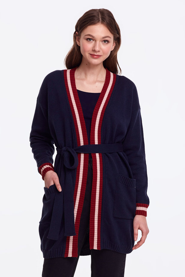 Dark blue cardigan with stripes photo 3 - MustHave online store