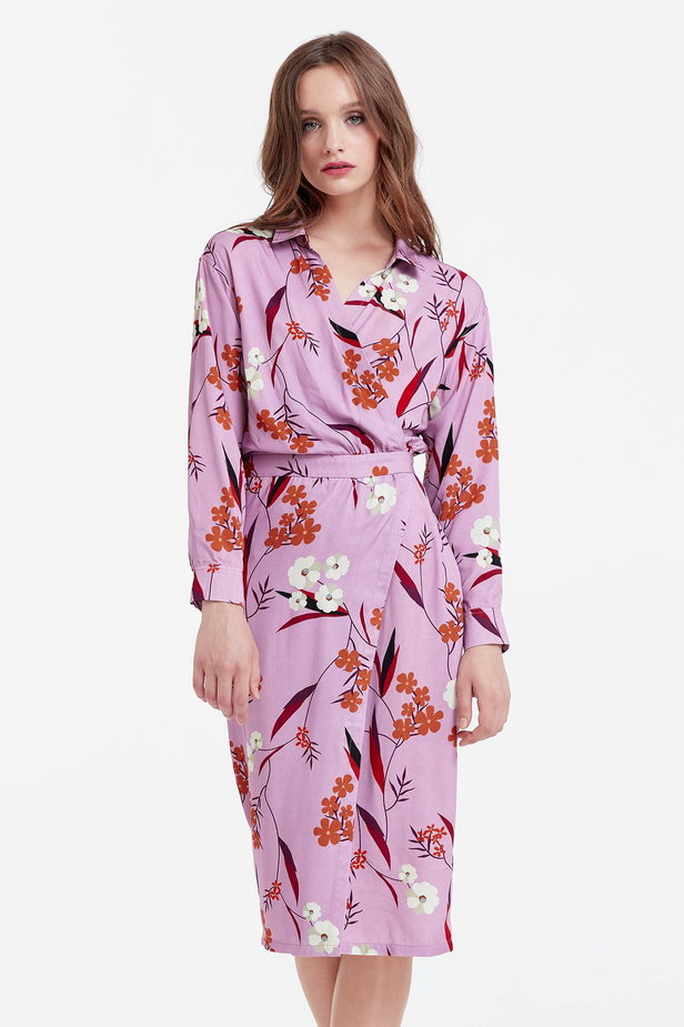 Wrap lilac dress with a floral print photo 1 - MustHave online store
