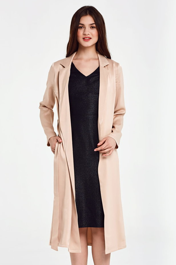 Below the knee wrap beige trenchcoat with a belt photo 1 - MustHave online store