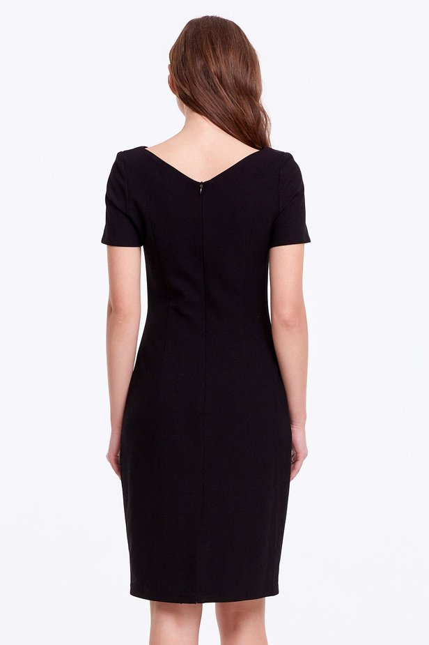 Column black dress with a V-shaped neckline photo 4 - MustHave online store