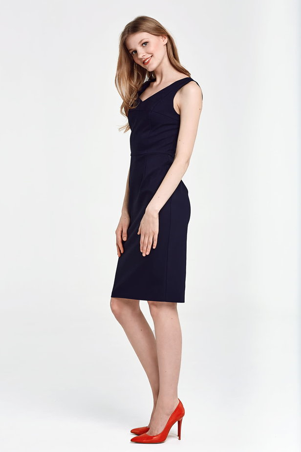 Below the knee column dark blue dress photo 2 - MustHave online store
