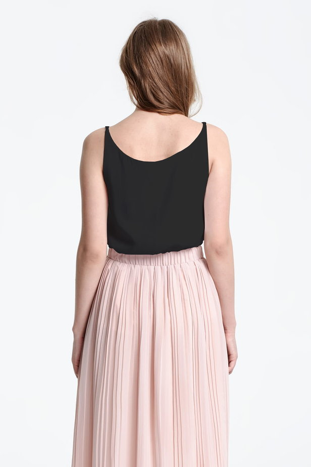 Black top with a low neckline photo 4 - MustHave online store