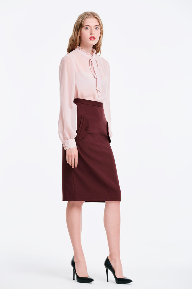 Burgundy skirt with pockets photo 5 - MustHave online store