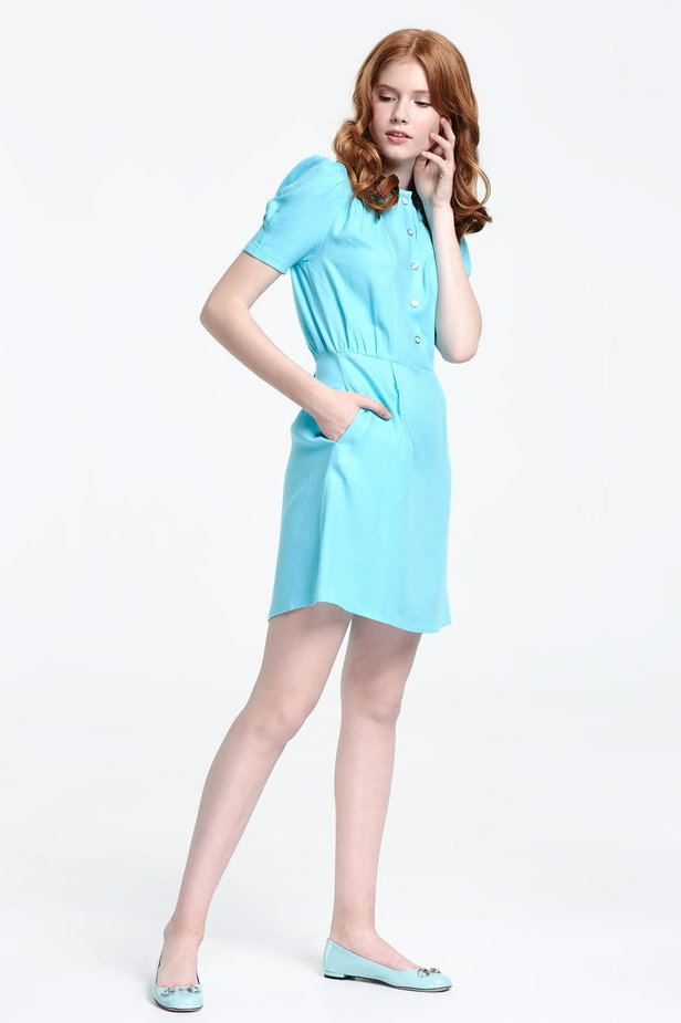 Blue shirt dress with balloon sleeves photo 5 - MustHave online store