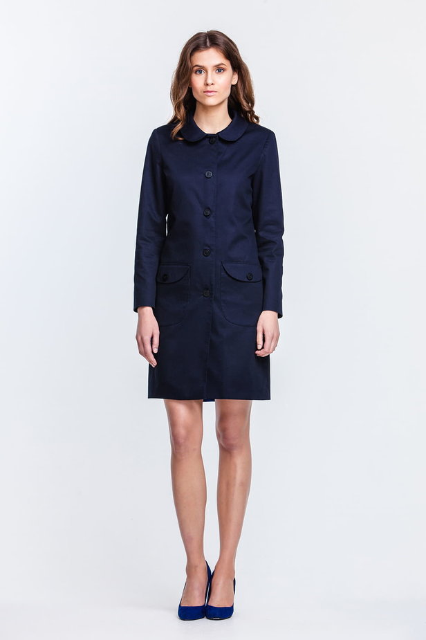 Blue trenchcoat with a round collar and patch pockets photo 1 - MustHave online store