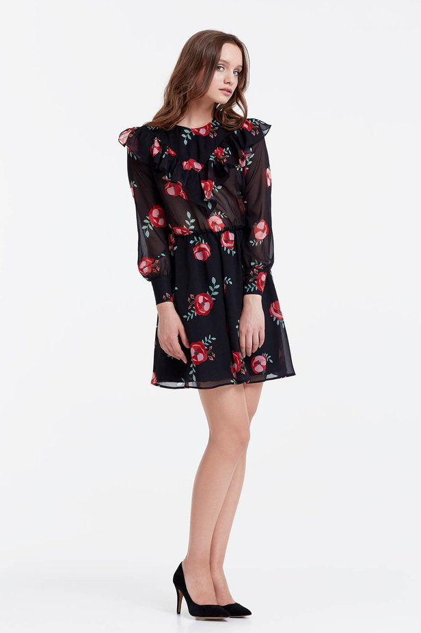 Mini black dress with a floral print and ruffles photo 5 - MustHave online store