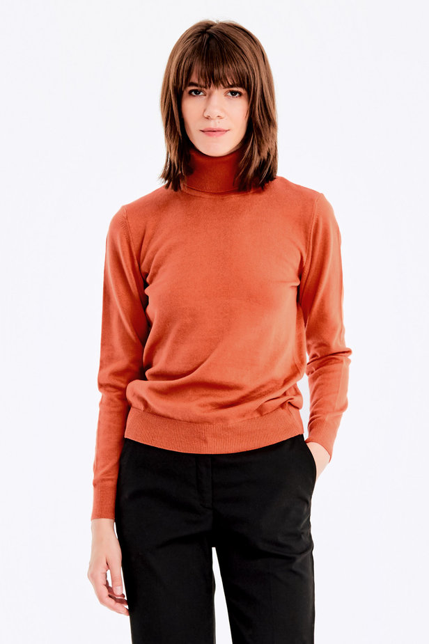 Terra-cotta knit polo neck photo 1 - MustHave online store
