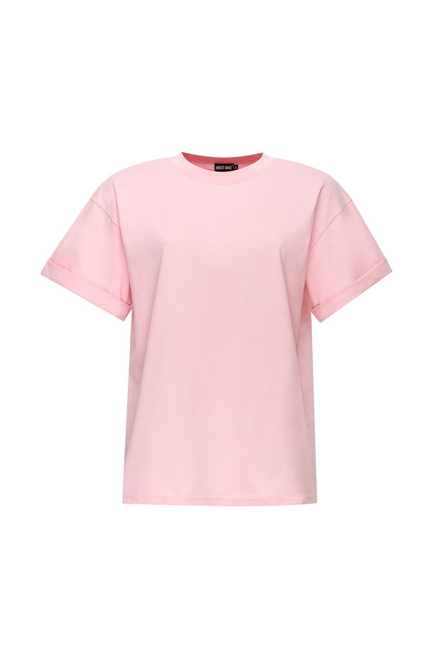 Loose-fitting pink T-shirt with cuffs photo 7 - MustHave online store