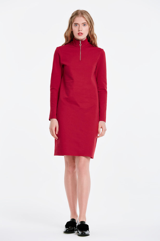 Red dress with a zip photo 5 - MustHave online store