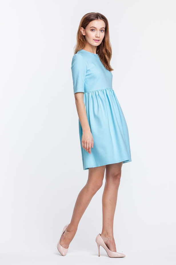 Mini blue dress with a peg-top skirt photo 2 - MustHave online store