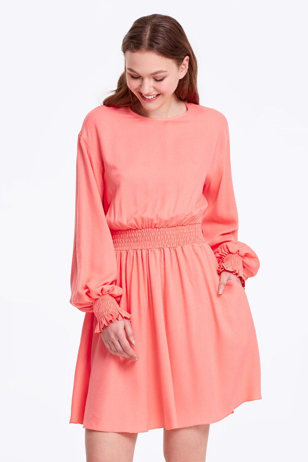 Coral dress with an elastic waistband photo 1 - MustHave online store