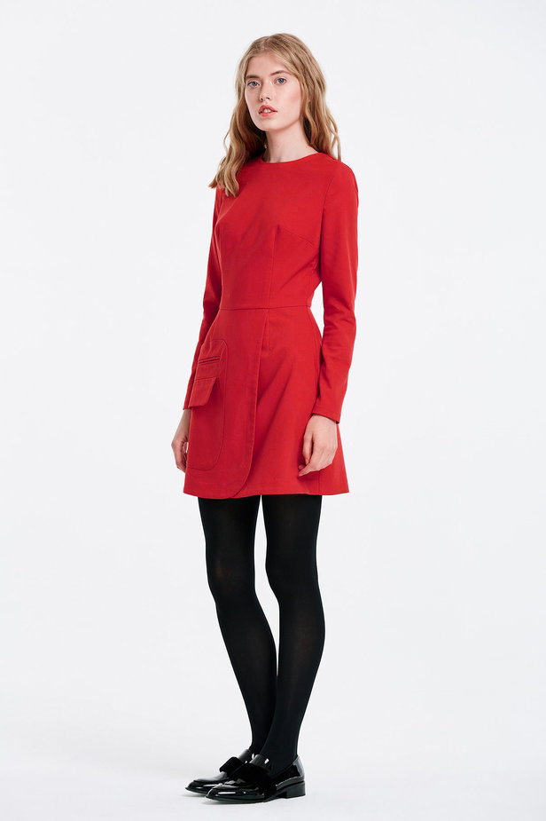 Wrap red dress with a pocket photo 2 - MustHave online store