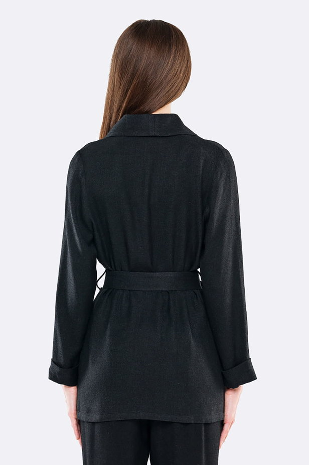 Swing black jacket with a belt photo 2 - MustHave online store