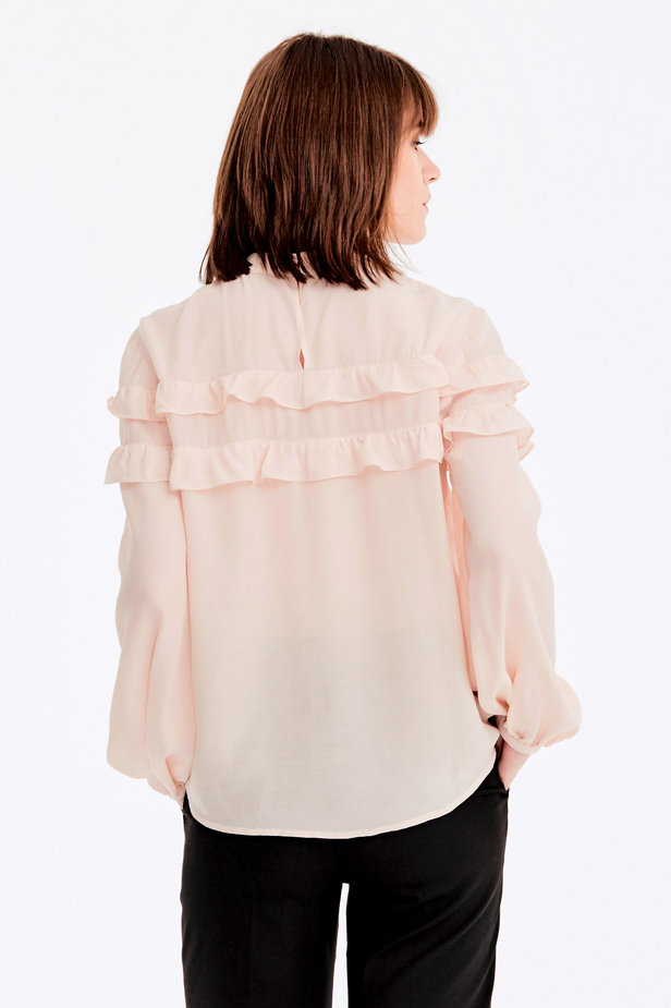 Beige blouse with ruffles photo 5 - MustHave online store