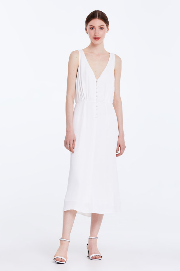 Midi white sundress with buttons photo 2 - MustHave online store
