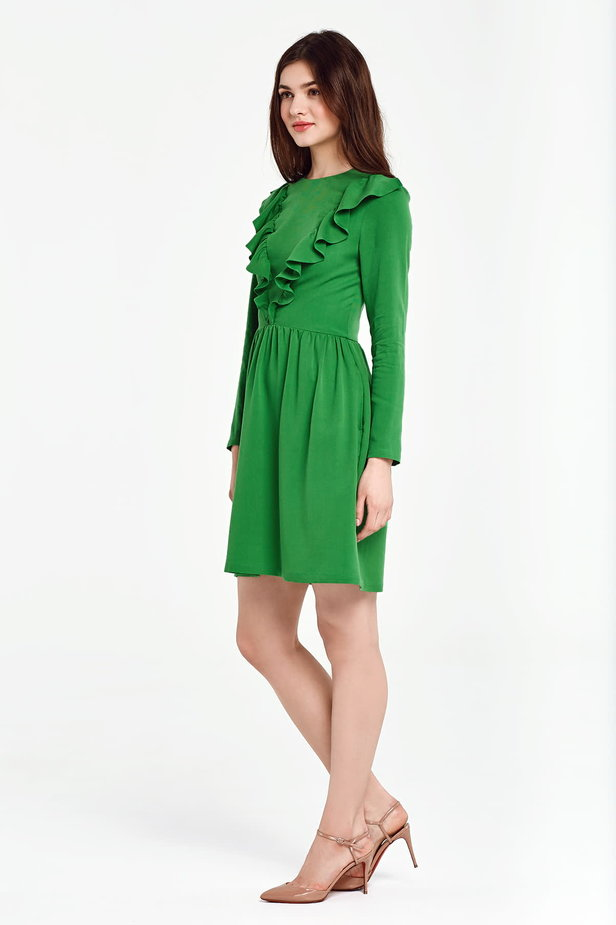 Green dress with ruffles above the knee photo 3 - MustHave online store