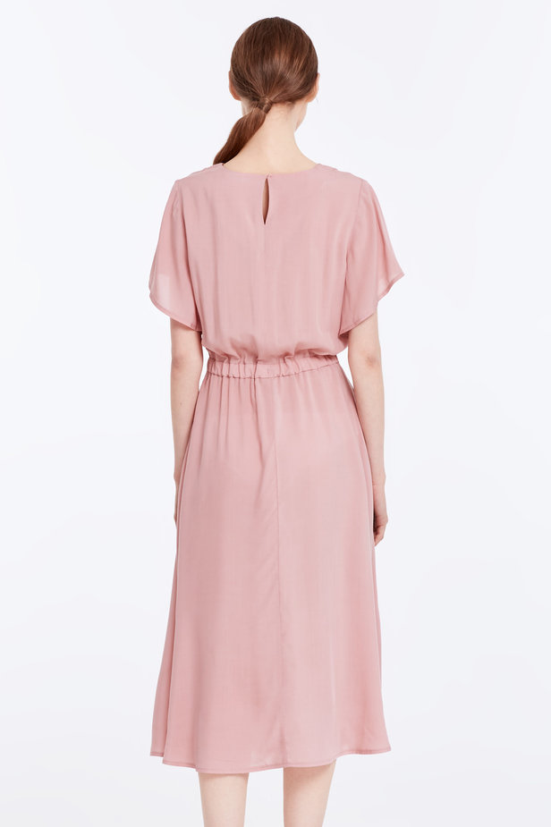 Midi powder pink dress with an elastic waistband photo 4 - MustHave online store