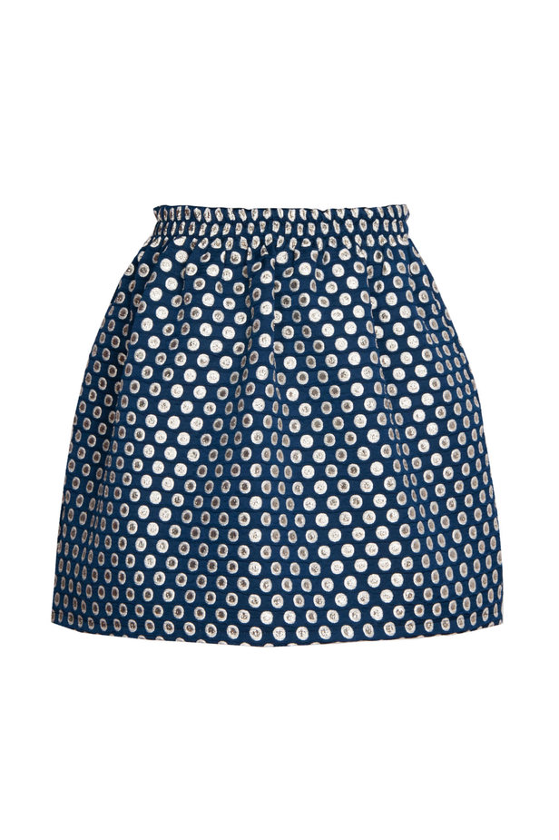 Dark blue skirt with an elastic waistband, polka dot print photo 2 - MustHave online store