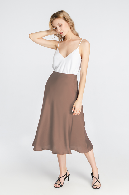 Beige satin skirt below the knee