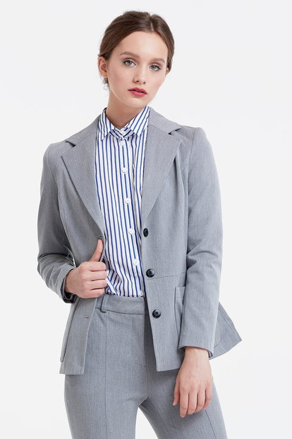 Grey jacket with patch pockets