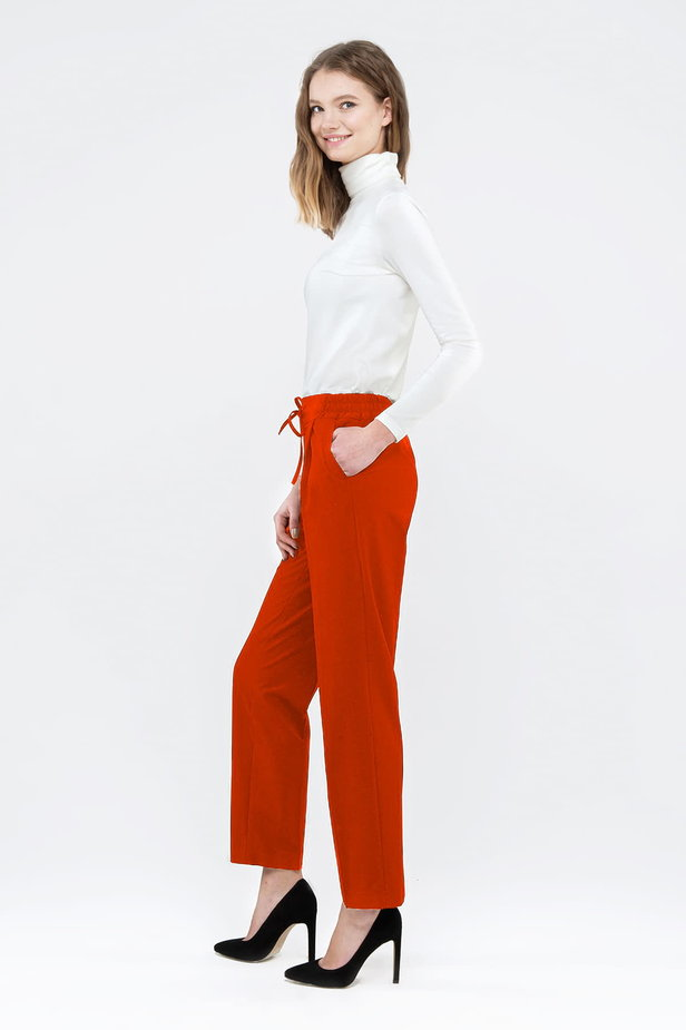 Red pants with an elastic waistband photo 3 - MustHave online store