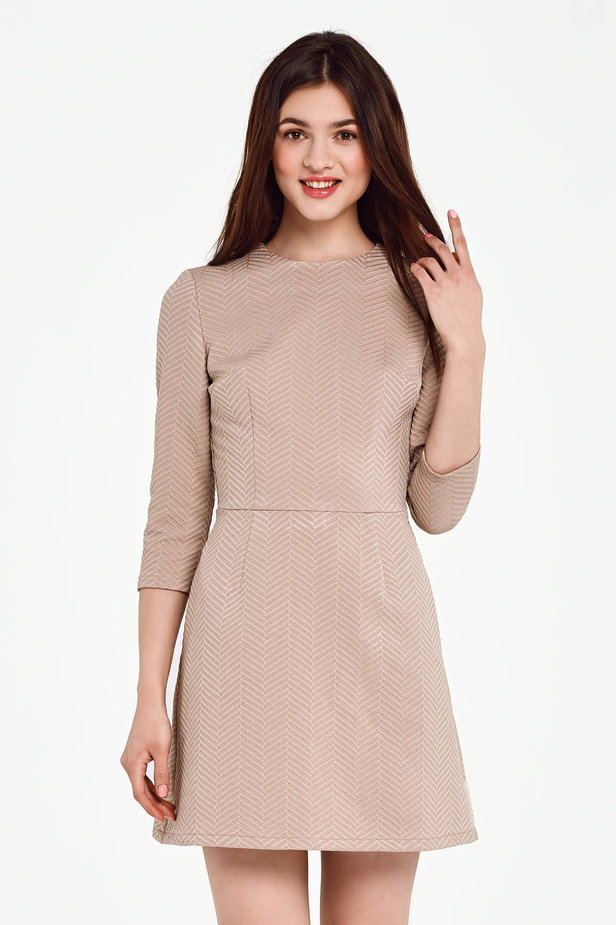 Above the knee A-line beige dress photo 1 - MustHave online store
