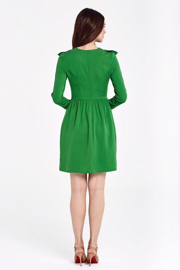 Green dress with ruffles above the knee photo 5 - MustHave online store