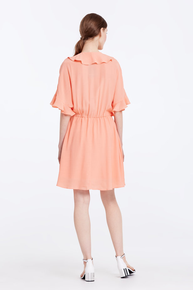 Peach-colored dress with ruffles photo 6 - MustHave online store