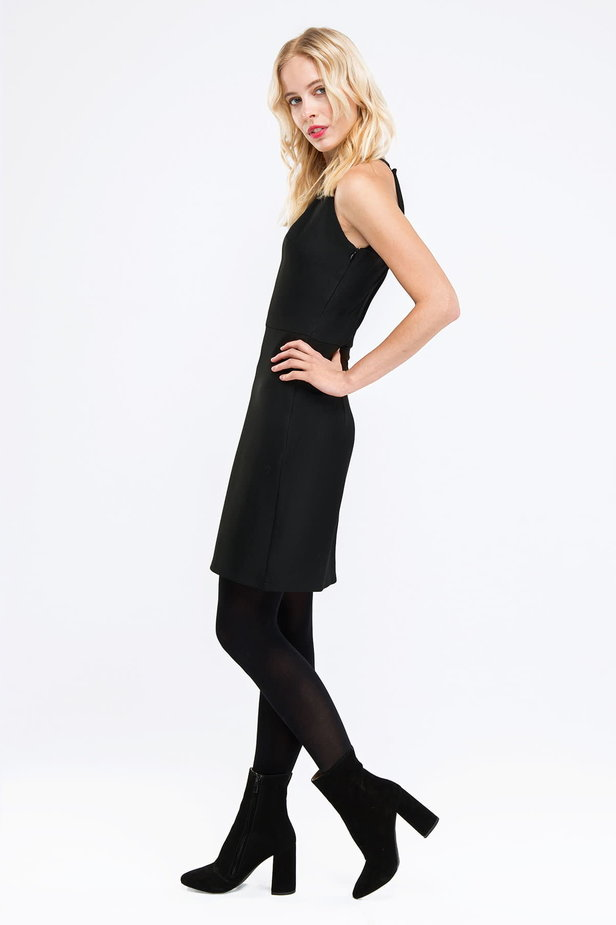 Black one shoulder mini dress photo 3 - MustHave online store