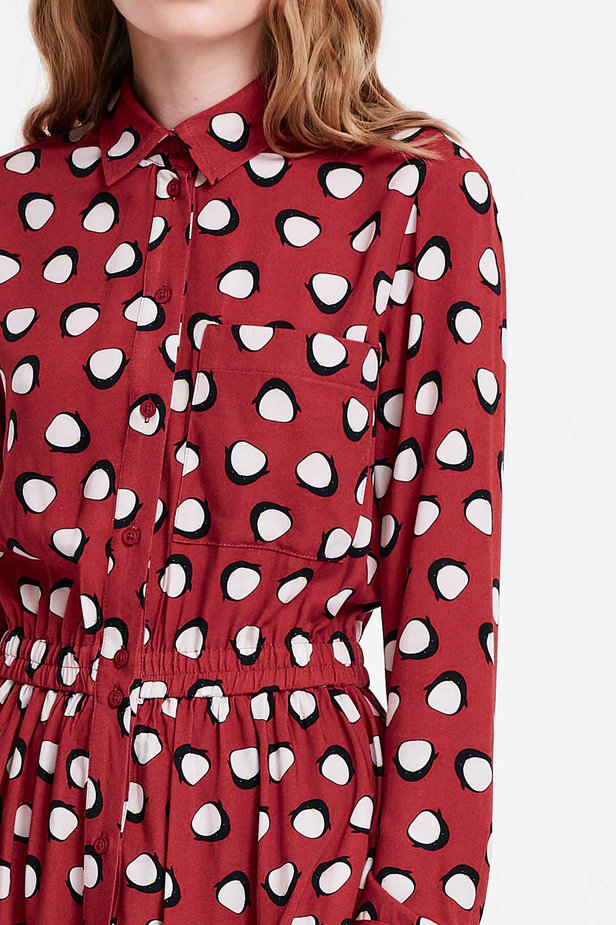 Red shirt dress, penguins print photo 3 - MustHave online store
