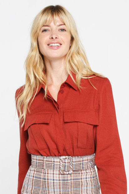 Terracotta viscose shirt with pockets