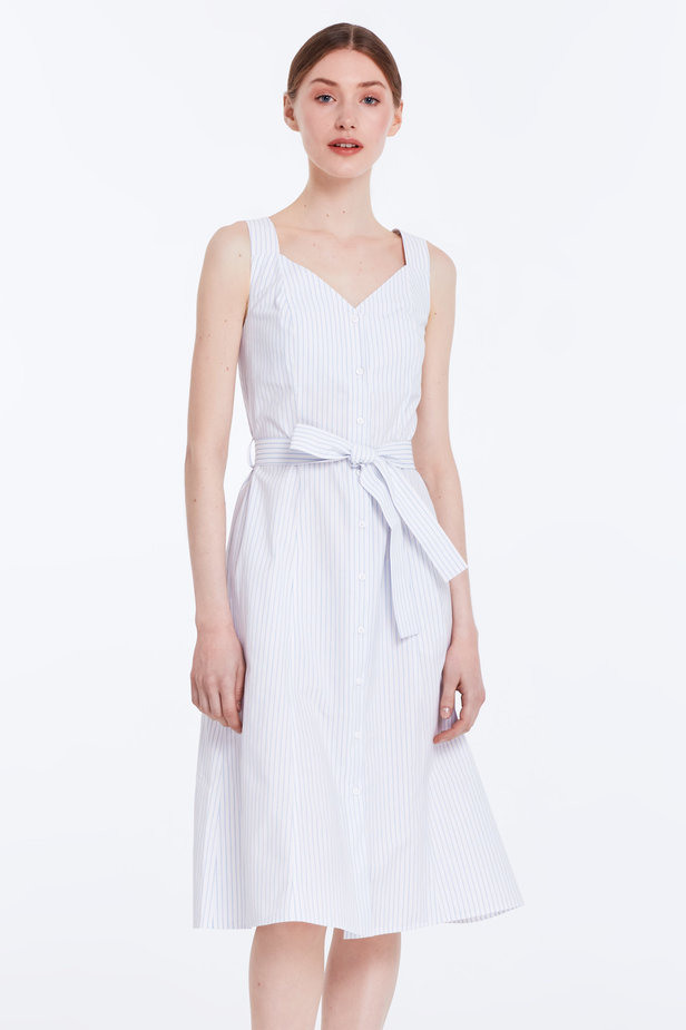 White sundress with blue stripes and a belt photo 1 - MustHave online store