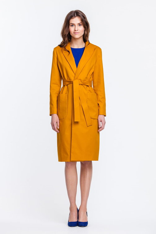 Mustard trenchcoat with a shawl collar