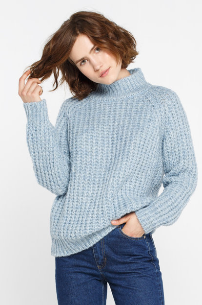 Blue knitted wool and mohair sweater with tube collar