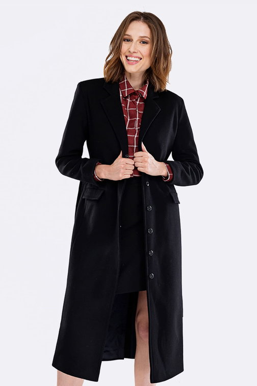 Below the knee black coat with a belt