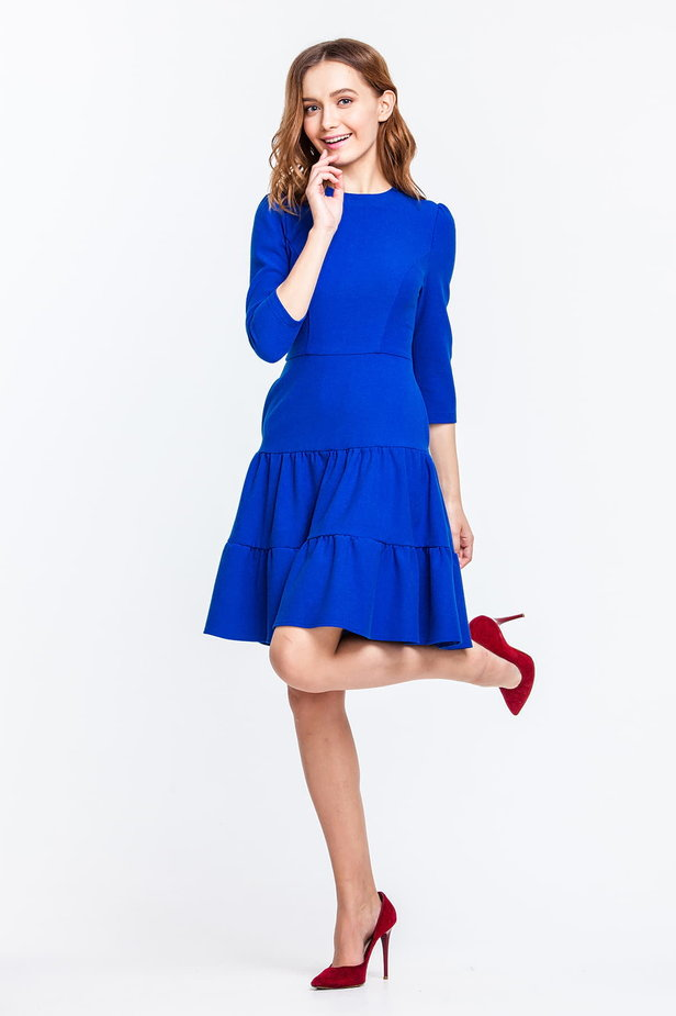 Blue dress with a threefold skirt and puffed sleeves photo 3 - MustHave online store
