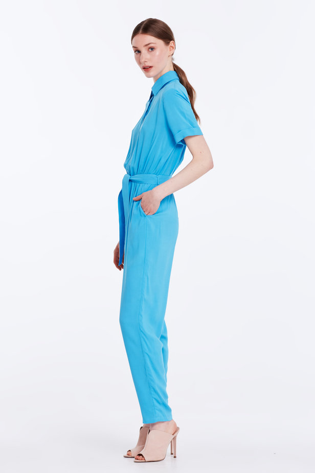 Blue jumpsuit with a shirt top photo 3 - MustHave online store