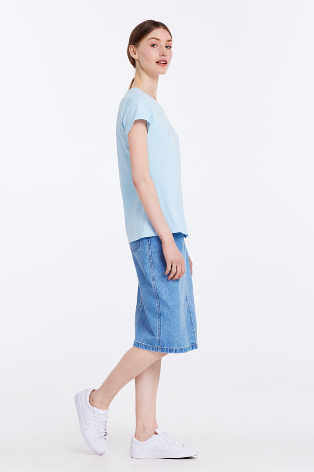 Blue T-shirt with cuffs photo 3 - MustHave online store