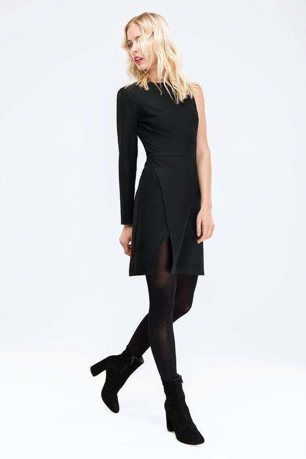 Black one shoulder mini dress photo 2 - MustHave online store