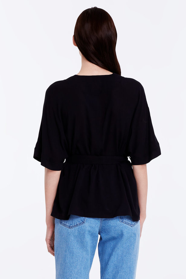 Wrap black shirt with a belt photo 5 - MustHave online store
