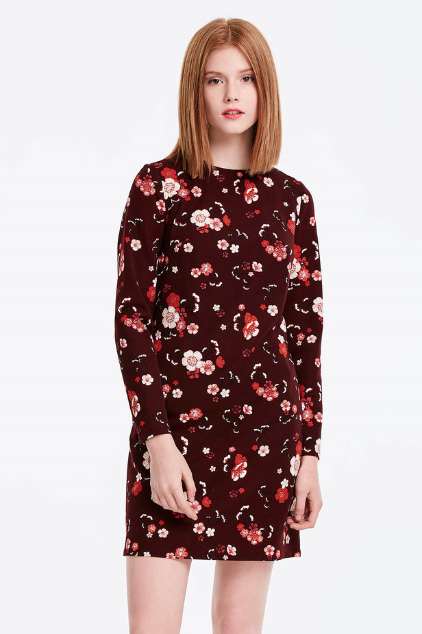 A-line burgundy dress with a floral print photo 1 - MustHave online store